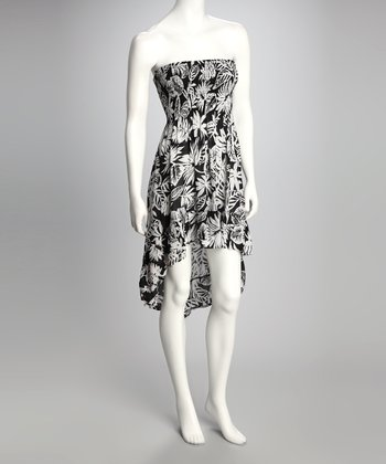 Black & White Tropical Leaf Strapless Hi-Low Dress