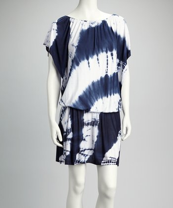 Navy Tie-Dye Drop-Waist Dress