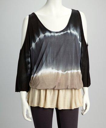 Raviya Black Tie-Dye Cutout Drop-Waist Tunic