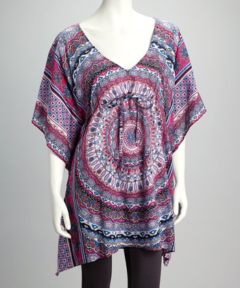 Pink Batik Cape-Sleeve Tunic