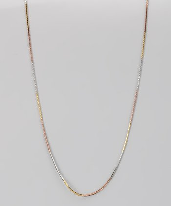 Sterling Silver & Gold Tricolor Box Chain