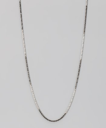 Black & White Sterling Silver 1-mm Sparkle Chain
