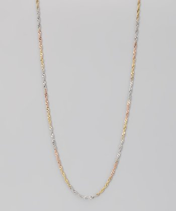 Sterling Silver & Gold Tri-Color 0.8-mm Singapore Chain