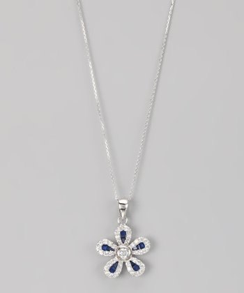 Blue Sterling Silver Micro Pavé Blossom Pendant Necklace
