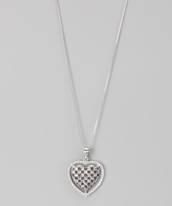 Gray Sterling Silver Micro Pavé Heart Pendant Necklace