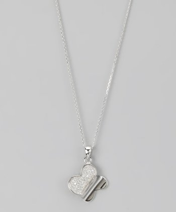 Sterling Silver Pavé Contemporary Butterfly Pendant Necklace