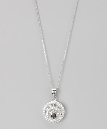 Sterling Silver Micro Pavé Fan Disc Pendant Necklace