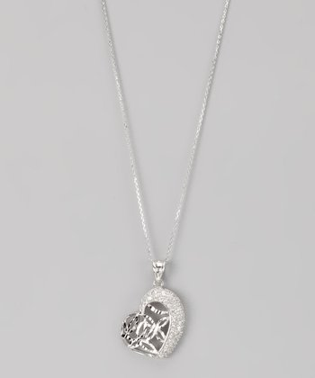 Sterling Silver Micro Pavé Marquis Cutout Heart Pendant Necklace