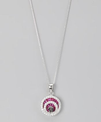 Pink Sterling Silver Micro Pavé Fan Disc Pendant Necklace