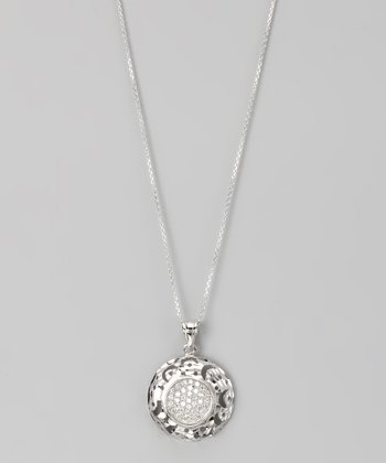 Sterling Silver Micro Pavé Cutout Circle Pendant Necklace