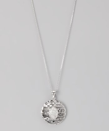 Sterling Silver Micro Pavé Cutout Disc Pendant Necklace