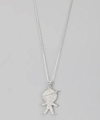 Sterling Silver Micro Pavé Little Boy Pendant Necklace