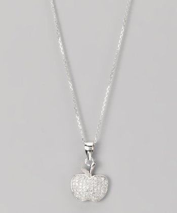 Sterling Silver Micro Pavé Apple Pendant Necklace