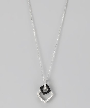 Sterling Silver Micro Pavé Double Square Pendant Necklace