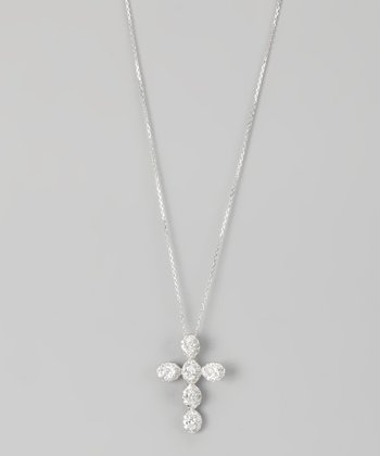 Sterling Silver Micro Pavé Dot Cross Pendant Necklace