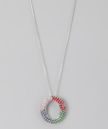 Red & Green Sterling Silver Pavé Open Circle Pendant Necklace