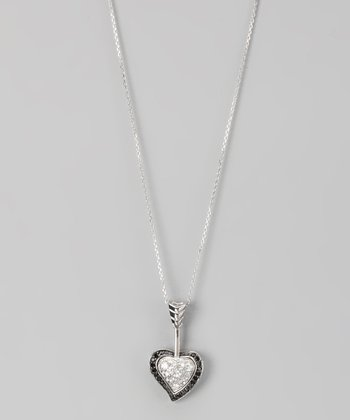 Black & White Sterling Silver Pavé Bow 'n' Arrow Pendant Necklace