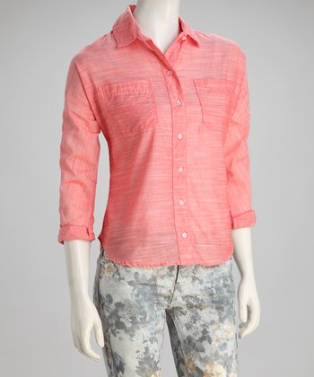 Coral Brushed Texture Button-Up