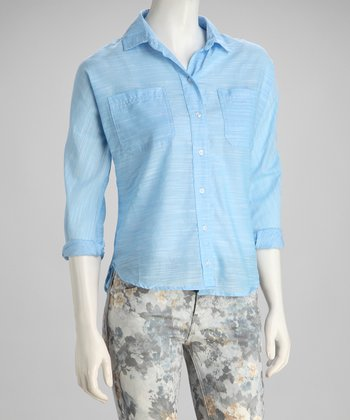Light Blue Brushed Texture Button-Up