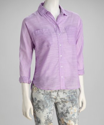 Purple Brushed Texture Button-Up