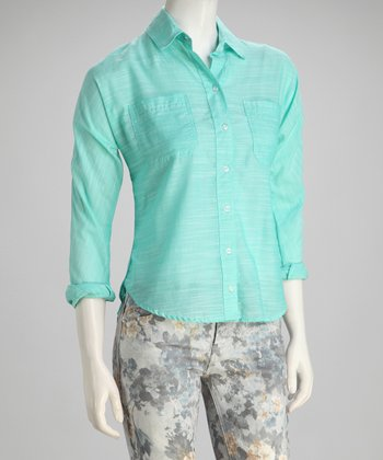 Seafoam Brushed Texture Button-Up