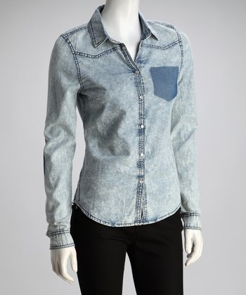 Ice Denim Contrast Pocket Button-Up