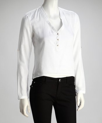 White Stud Button Top