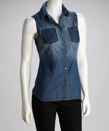 Blue Denim Sleeveless Button-Up