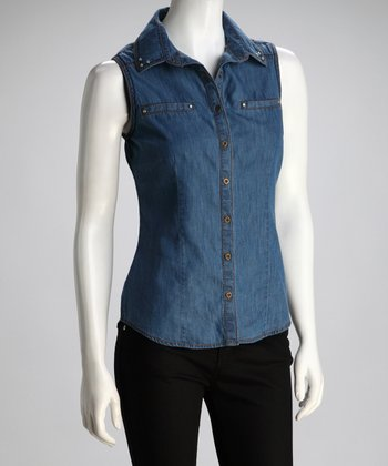 Dark Blue Slit-Pocket Denim Sleeveless Shirt