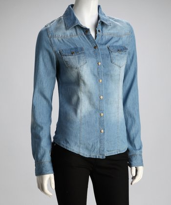 Sand Blast Faded Denim Shirt