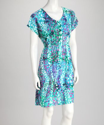 Blue & Pink Abstract Leopard Dress
