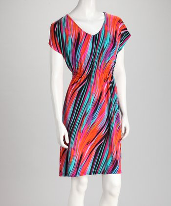 Red & Blue Abstract Stripe Dress
