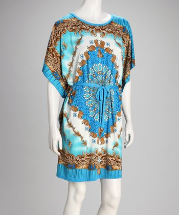 Blue & Gold Arabesque Cape-Sleeve Dress