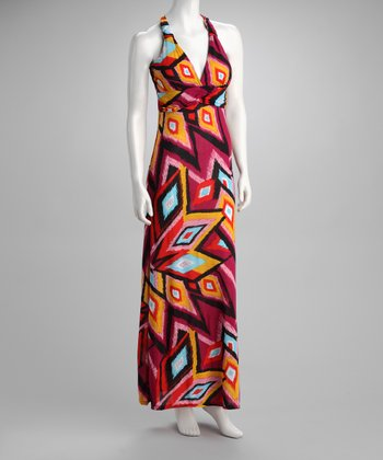 Fuchsia Abstract Racerback Maxi Dress