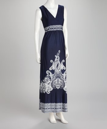 Navy Embellished Surplice Maxi Dress