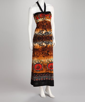 Brown Tie-Dye Floral Halter Maxi Dress