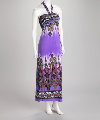Purple Paisley Halter Maxi Dress