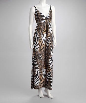 Brown & Black Animal Maxi Dress