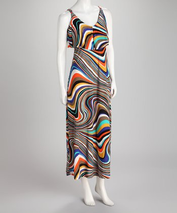 Brown & Orange Swirl Maxi Dress
