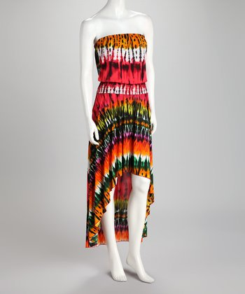 Coral & Green Tie-Dye Strapless Hi-Low Maxi Dress