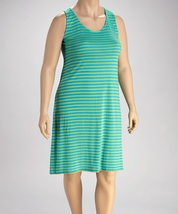 Aqua Lime Stripe Plus-Size Dress
