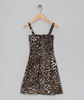 Brown Leopard Dress - Girls