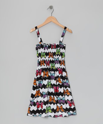 White & Black Butterfly Dress - Girls