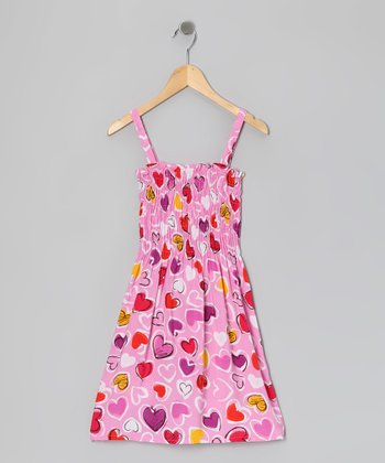 Pink Heart Dress - Girls