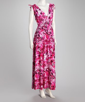 Pink Abstract Plus-Size Maxi Dress