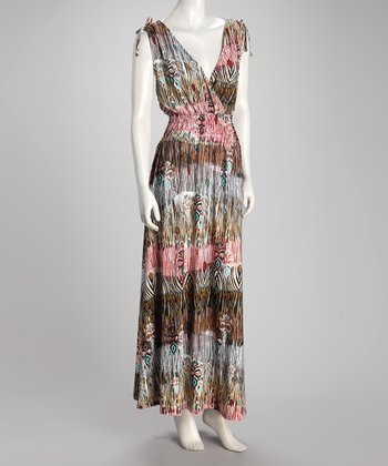 Brown Tiger Stripe Plus-Size Maxi Dress