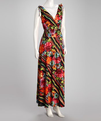 Fuchsia Floral Stripe Plus-Size Maxi Dress