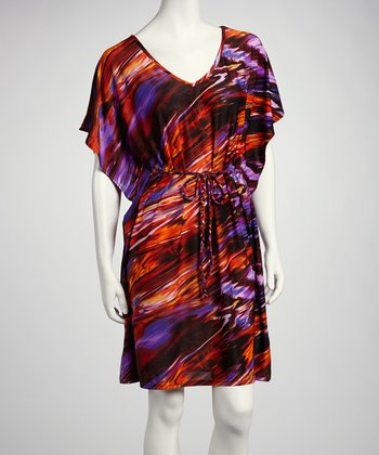 Purple & Red Abstract Cape-Sleeve Dress