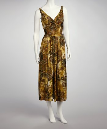 Brown & Yellow Paisley Cheetah Surplice Maxi Dress