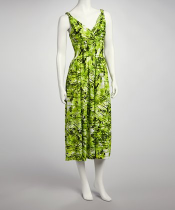 Lime Green Abstract Surplice Maxi Dress